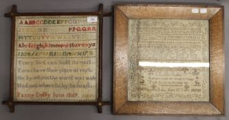 Two Victorian samplers, one signed ''Fanny Dolby, June 1869'',
