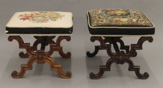 A matched pair of Victorian tapestry covered rosewood x-frame stools.