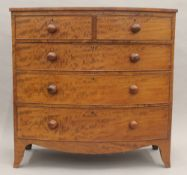 A 19th century mahogany bow front chest of drawers. 102.5 cm wide.