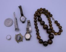 A quantity of costume jewellery, watches, etc.