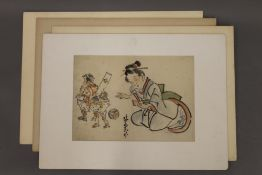 Four various Japanese watercolours, each mounted. 56 x 41 cm overall.