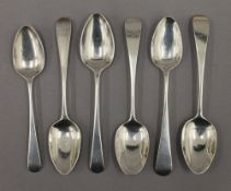 Six Old English pattern teaspoons, hallmarked London, early 19th century,