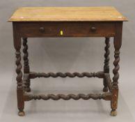 An early 20th century oak barley twist table. 81 cm long.