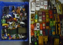 Collection of Dinky, Corgi, and other die-cast emergency, farm, and other unboxed vehicles, and a