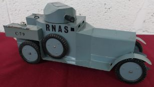 Hand made tin plate scale model of a WW1 RNAS Armoured Car, C. 79, grey body with swivel turret
