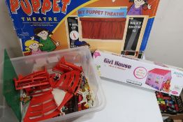 Boxed wooden Puppet Theatre with velvet curtains, collection of Playmobil figures and animals