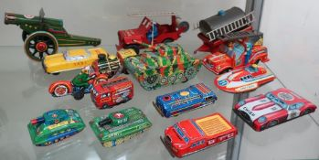 French tin plate Jeep with water pump trailer, Chinese friction powered fire engines, Chiefs car,