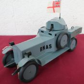 Hand made tin plate scale model of a WW1 RNAS Armoured Car, A. 34, grey body with swivel turret,