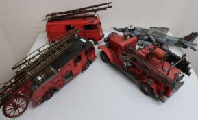 Three large scale tinplate models of Fire Engines, and a similar model of a aircraft (4)