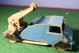 Die-cast lead model of a tow truck, blue with black mud guards, with swivel turret.