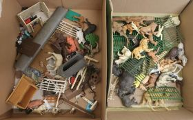 Collection of Britain's and others plastic farm and zoo animals, in two boxes
