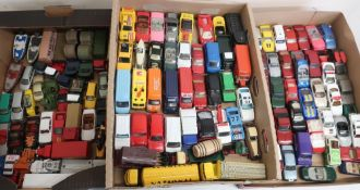 Collection of small scale model vehicles, Corgi, Matchbox, etc in three boxes
