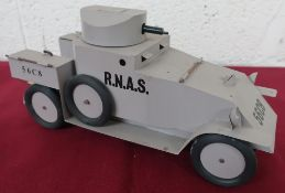 Hand made tin plate scale model of a WW1 RNAS Armoured Car, 56C8 , sand body with swivel turret