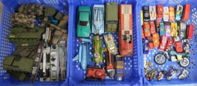 Collection of Dinky, Corgi and other die-cast vehicles including military, Thunderbird 2, SPV