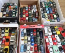 Collection of Sseca, Vanguard, Lledo and other unboxed die-cast models of cars in six boxes