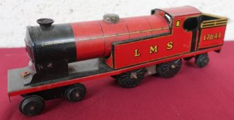 Chad Valley clockwork tinplate locomotive, number 17841 in LMS livery (26cm)