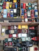 Collection of Lledo, Vanguards and other die-cast models of vintage cars, vans etc in three boxes