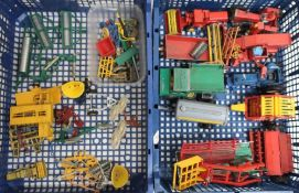 Britains, Corgi and other die-cast models of farm equipment, trailers, etc in two boxes
