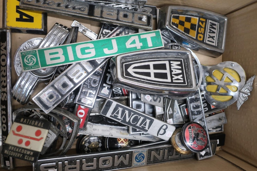 Collection of car badges including Triumph, Austin Morris, British Leyland, Mercedes, AA Members, - Image 2 of 2
