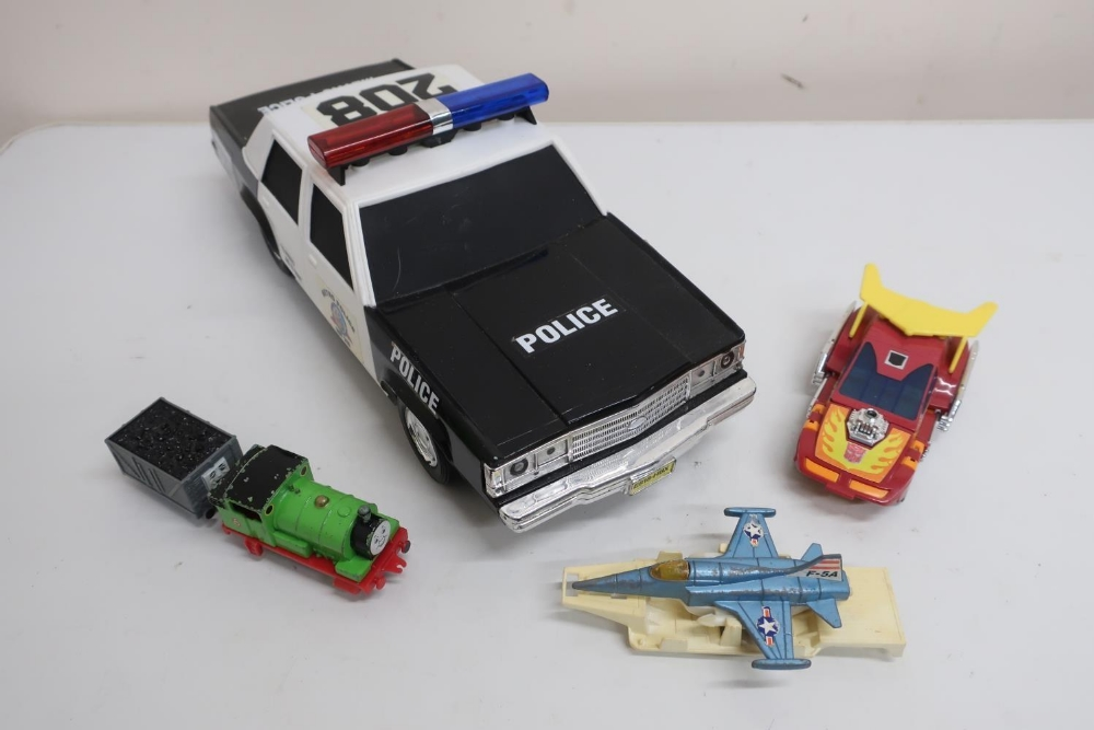Large scale Funrise Model American police car, seven Thomas the Tank Engine die-cast models, Tonka