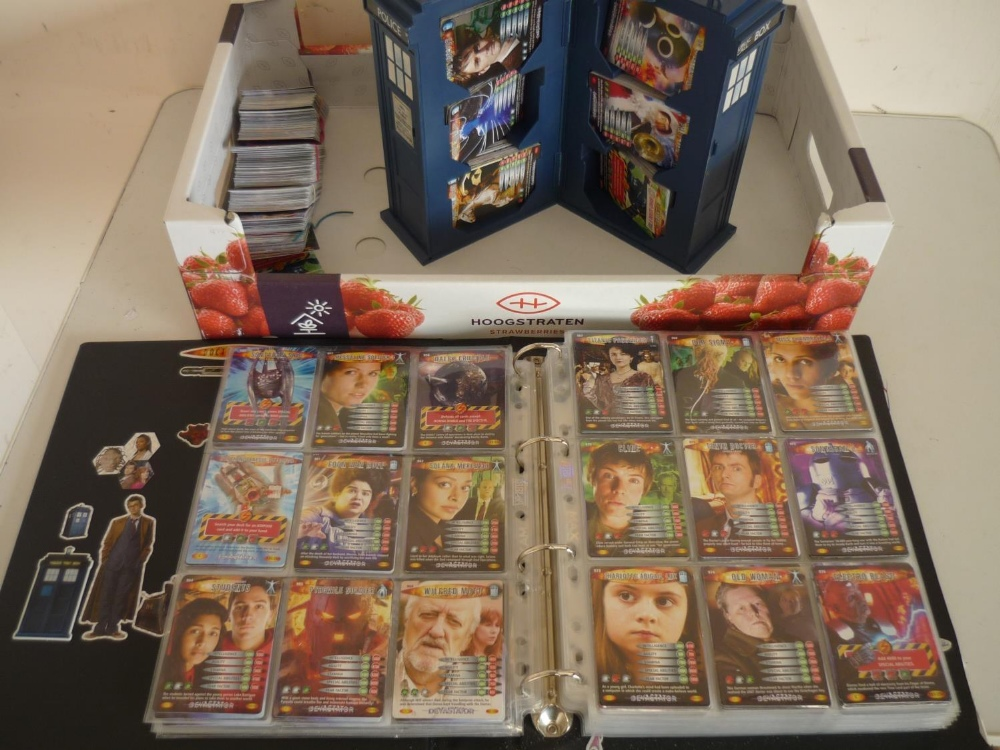 Collection of Doctor Who Trade Cards with Adventurer Devastator Ultimate Monsters and Exterminators,