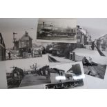 Collection of black & white railway photographs, the majority steam, including York and