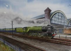 "J Peasron, ""Tornado at Darlington"" water colour signed and dated 2015"" (30cm x 40cm)"
