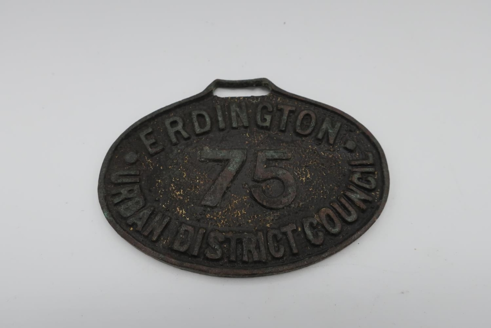 Erdington Urban District Council drivers oval badge No 75
