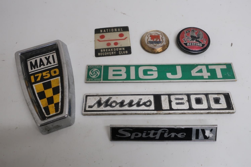 Collection of car badges including Triumph, Austin Morris, British Leyland, Mercedes, AA Members,