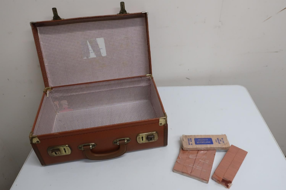 Collection of Spear Brickplayer bricks and a suitcase