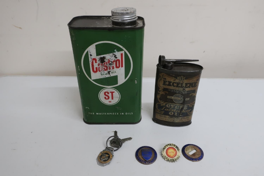 Castrol ST90 Gear Oil Quart tin, an Excelene Cycle Lubricating Oil tin, National Benzole Mixture