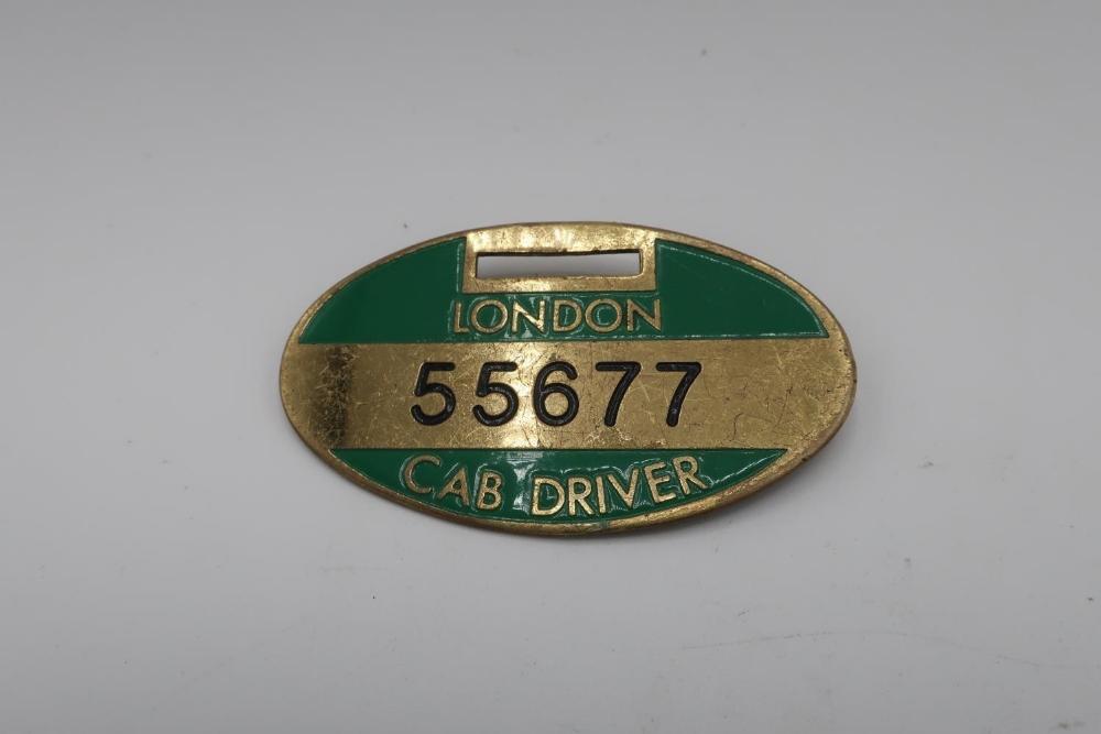 London Cab Driver oval badge No. 55677
