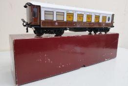 Ace Trains Of London O gauge Metropolitan tinplate railway coach, umber and white Mayflower C/26PM