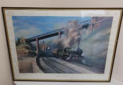 """After David Weston: """"Castle On The Coast"""" and reproduction British Railways print after Terrance"""