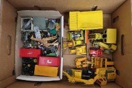 Dinky diecast model Aveling-Barford Centaur dump truck, Joel road scraper, other Dinky and Corgi