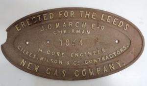 Large Victorian oval cast iron plaque erected for the Leeds New Gas Company J.O. March, Esquire,