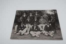 Large postcard of Yorkshire County Cricket Team, black and white photo printed by Delittle,