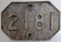 Cast iron GER bridge plate, 2181 (31cm x 21cm)