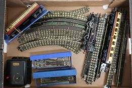 Hornby Dublo three rail with 264 locomotive 80054, two passenger coaches, controller, track etc in