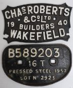 Two cast iron plates, Chas Roberts & Co Ltd, Wakefield, and B589203 (2)