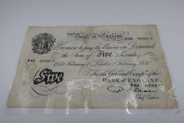 Bank of England £5 note, February no. P63033217, laminated