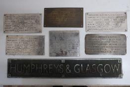 Cast alloy Humphreys & Glasgow sign (10cm x 61cm) and six polished metal Humphreys & Glasgow