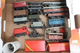 Hornby Dublo rolling stock, two bogie bolsters, two brick wagons, other wagons, Dock Authority
