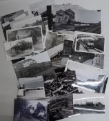 Collection of railway related photographs, including locomotives, stations, goods yard, bridges,