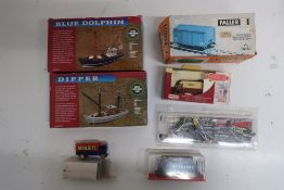 Two Tasma Products boat kits, Faller bell ringing wagon, trackside limited edition Noddy van etc, in