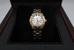 Ladies Tag Heuer Aquaracer 300 bi-metal quartz wrist watch, with baton numerals and date, on