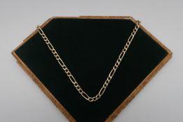 9kt gold flattened link necklace, stamped 9kt, 46cm long, 13.4g