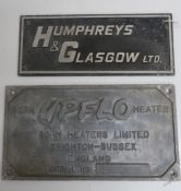 Cast alloy rectangular name plate, Humphreys & Glasgow Ltd (36cm x 15cm) and another Born Upflo