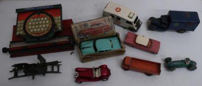 Tri-ang Minic clockwork tinplate Ambulance, and LNER parcel van, Japanese friction powered