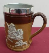 Victorian Royal Doulton hunting mug, relief decorated with tavern figures and running stag,
